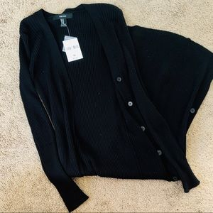NWT Forever 21 long black cardigan sweater ribbed